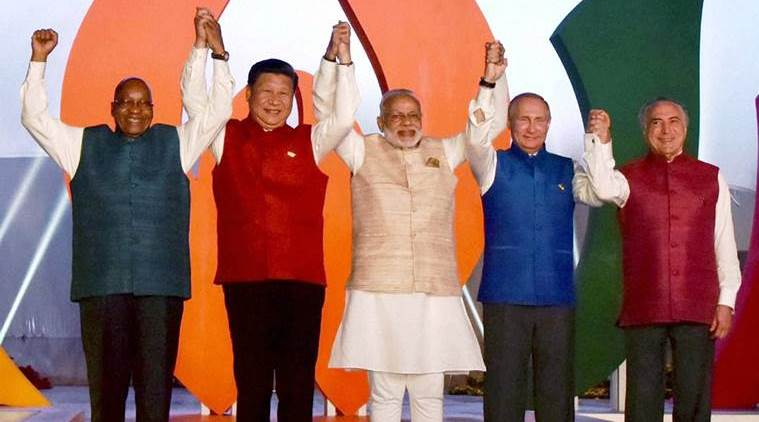 Benaulim: Prime Minister Narendra Modi with BRICS leader Brazil President, Michel Temer, South Africa President, Jacob Zuma, Russian President Vladimir Putin and Chinese President Xi Jinping pose for a group photo at the BRICS informal dinner in Benaulim, Goa on Saturday. PTI Photo/PIB(PTI10_15_2016_000291B)